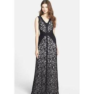 Tadashi Shoji Lace Overlay Formal Evening Gown